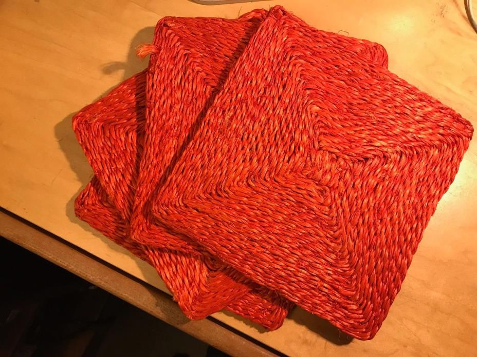 NEW Hot Red Set of 4 RED Woven Straw Trivets 8 inch Square Hot Plate Raffia