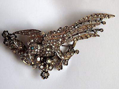 Antique Georgian Rose Cut Diamond Gold Trembler Brooch