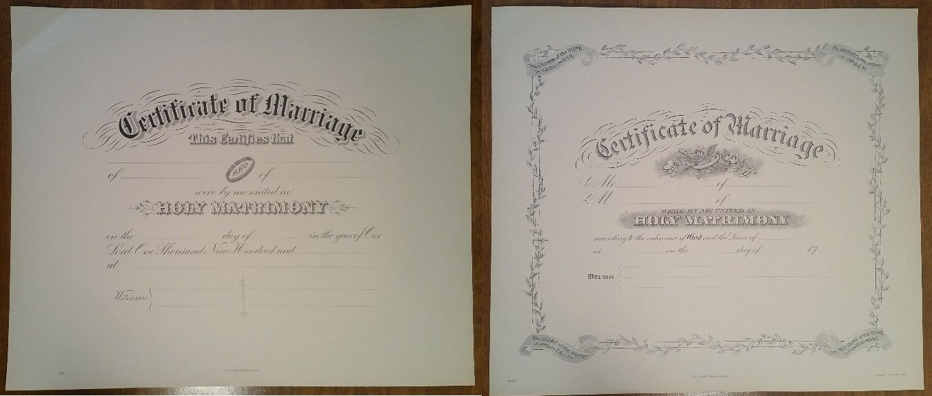 Lot of 2 Vintage Wedding Marriage Certificates