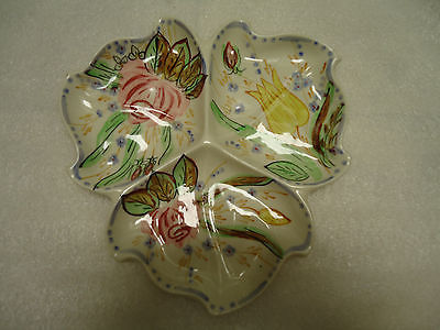 Vtg Porcelain White Floral Decorative Oval Serving Dish Tray made in USA