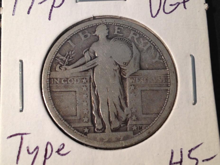 1917-P Type 1  VG+  Standing Liberty Quarter   Nice Coin