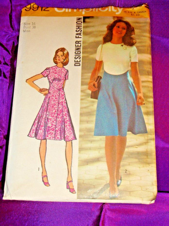 70s Vtg Fit n Flare Dress High Shaped Waist Short Slv FF Simplicity 9912 Bust 38