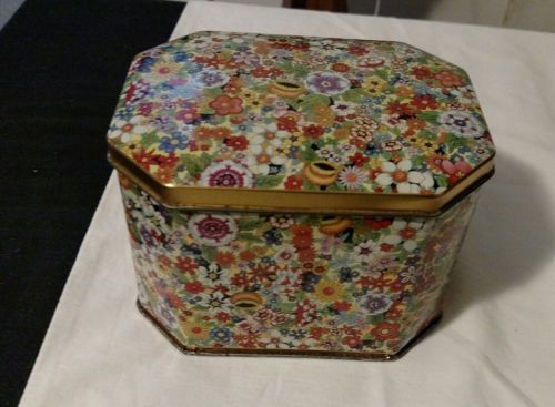 Vintage Daher Tin Box Made In England Retro Floral Design Hinged Lid