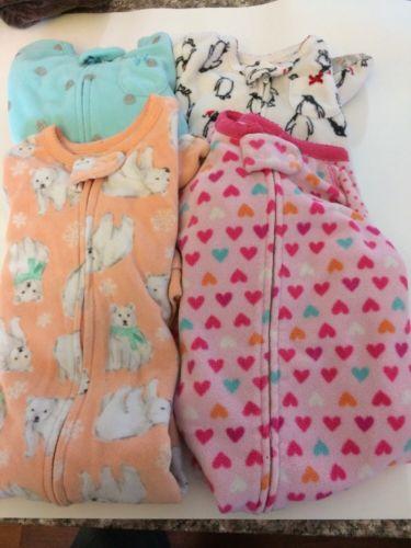 EUC *Lot of 4* baby girls Carters cozy fleece footed sleeper pajamas pj 12 month