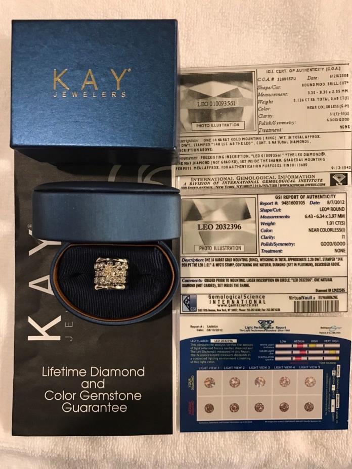 Leo Diamond 14K Solid White Gold Round Cut Wedding Ring Set.
