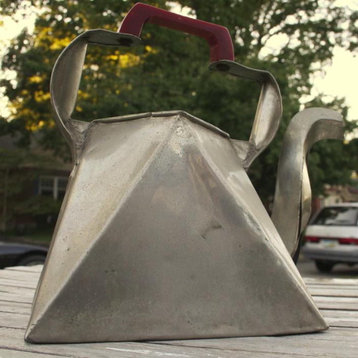 Antique Metal Tea Pot Tea Kettle Bakelite Handle Hand Crafted Vintage Hand Made