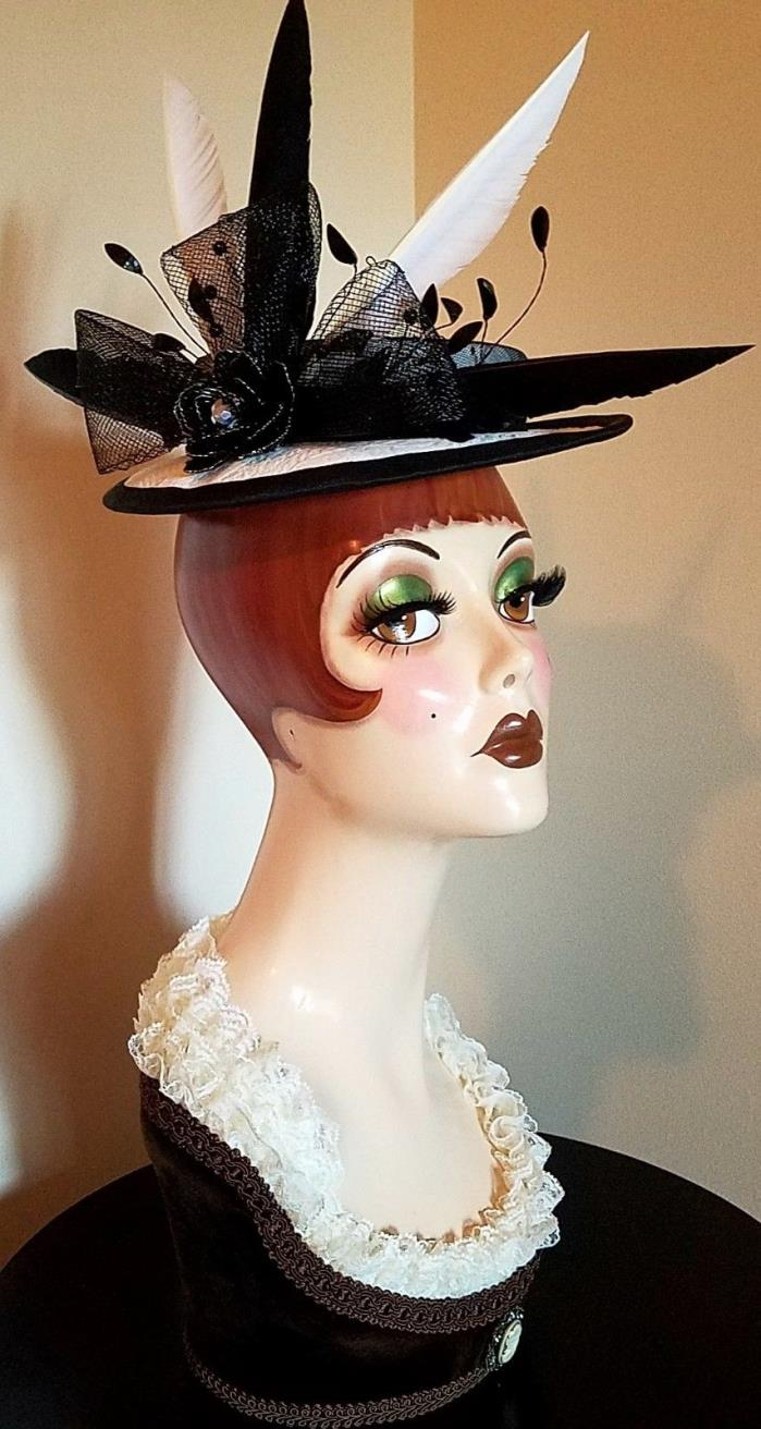 Black and white handmade custom boater sailor derby millinery fascinator hat