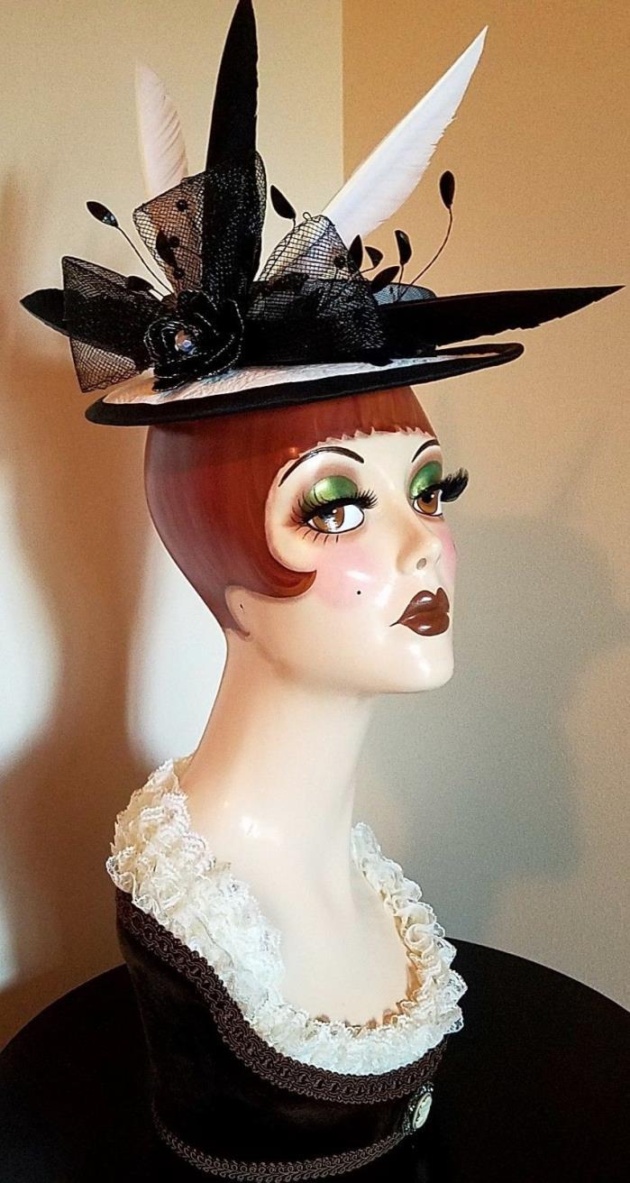 Black and white handmade custom boater sailor derby millinery fascinator hat