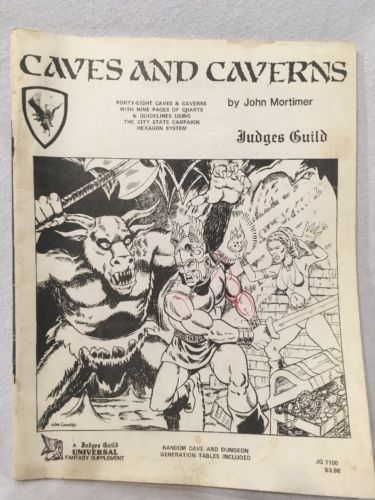 Judges Guild Caves And Caverns Fantasy Supplement, 1982 For Use With D&D
