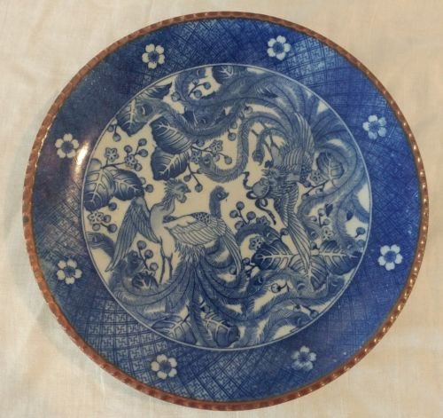 Antique Japanese Igezara Blue & White Imari Charger plate 12
