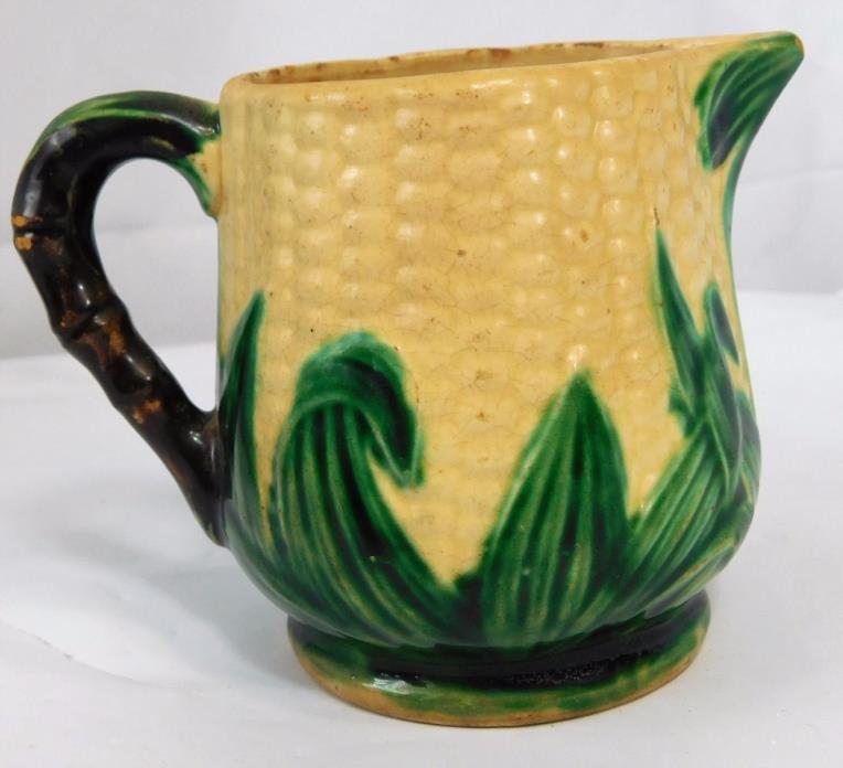 Atq MAJOLICA Miniature Small Pottery Corn Cob Creamer Pitcher Jug