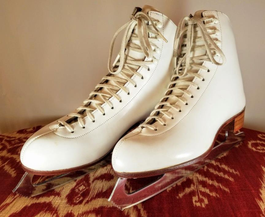 Red Wing Riedell 320 - 9.5 Mens White Figure Ice Skates - MK 2000 Blades - 9 1/2