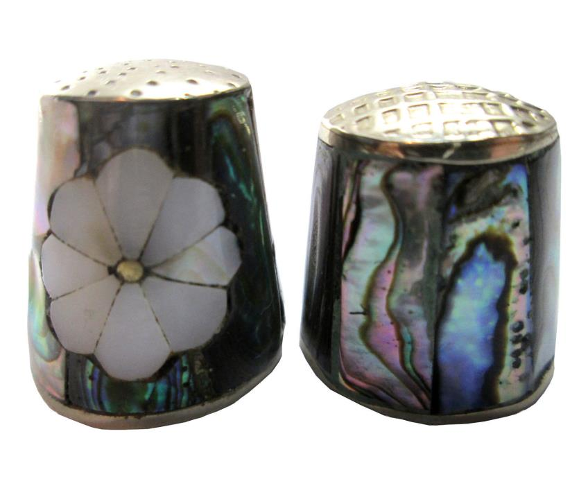 2 Abalone Shell Thimbles 1 with Inset White Flower Alpaca Mexico Mother of Pearl