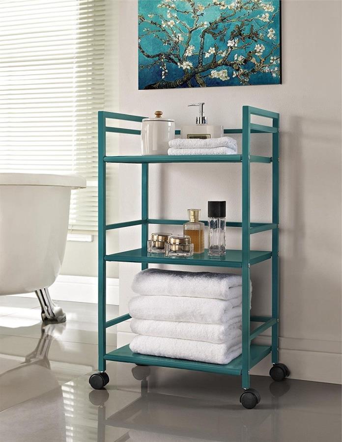 Metal Rolling Utility Cart Kitchen Dorm Desk Caddy Bathroom Organizer Shelf Teal