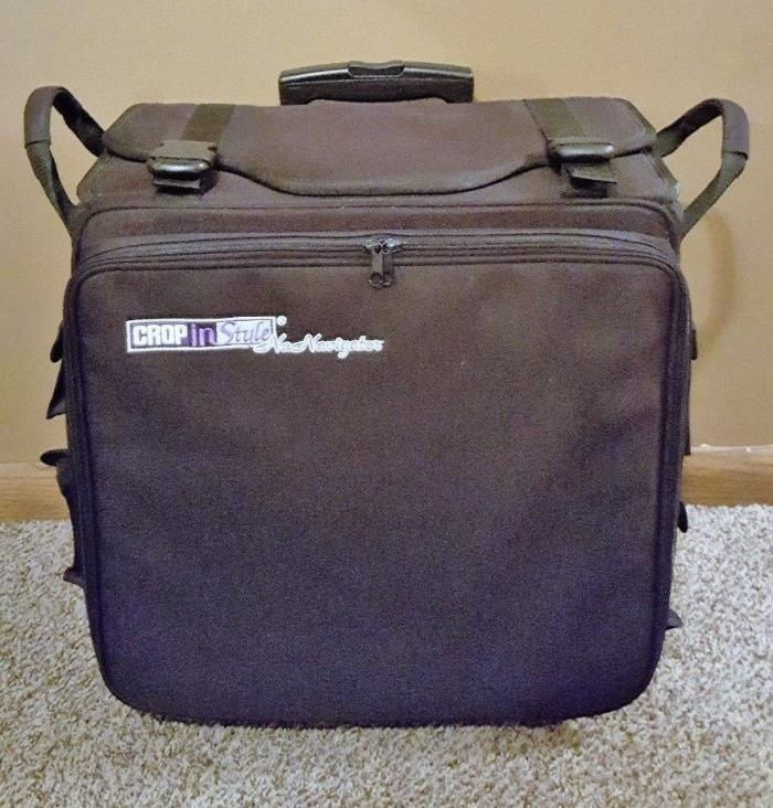 Crop In Style Na Navigator Rolling Scrapbook Crafts Travel Tote Great Condition