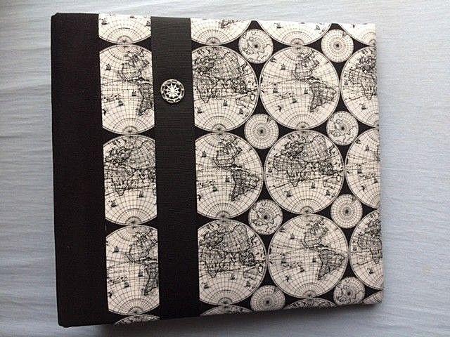 Large Fabric Covered 3 Ring Binder / Album - Black & White Globe / Map Print