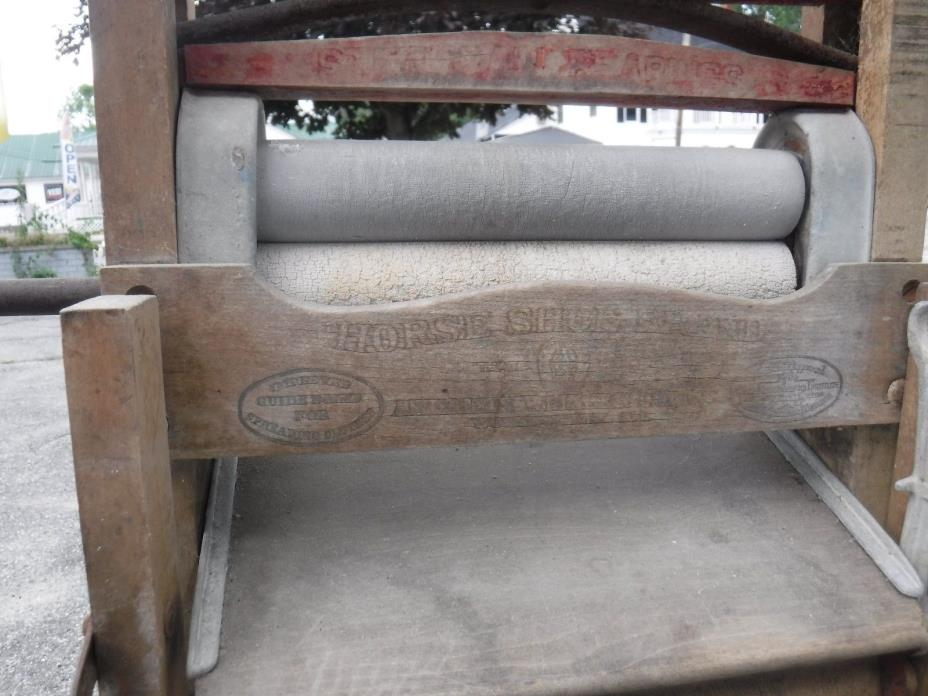 Antique Horse Shoe Brand Clothing American Upright Wringer Folding Bench Clothes
