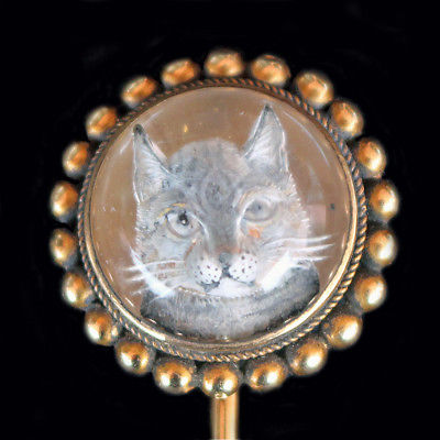 Antique Victorian Cat Reverse Carved Essex Crystal Stick Pin 14k Gold (#5993)