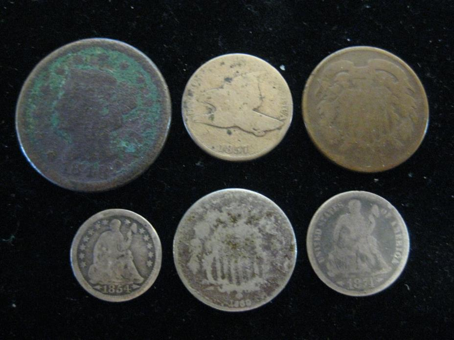 MIXED LOT OF 6 TYPE COINS 1848 1857 1867 1854W/A 1869 1874W/A