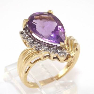 Solid 14K Yellow Gold Natural Diamond Purple Amethyst Ring Size 7