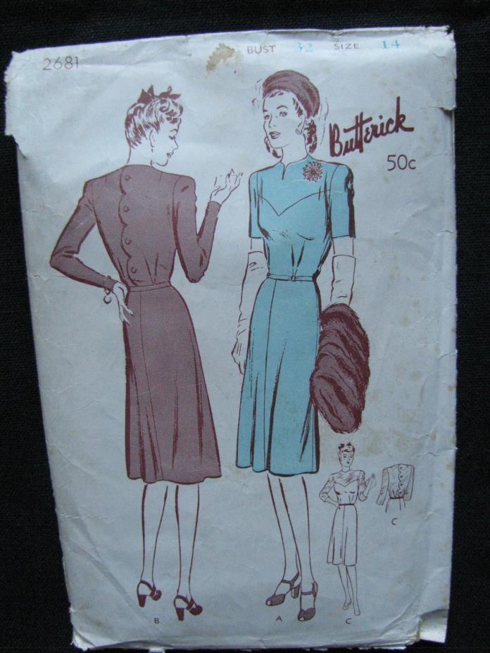 Vintage 1940's  Women's Dress Pattern w/scalloped back Butterick #2681 Sz14/32