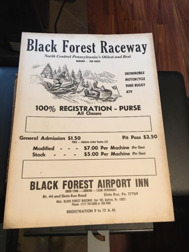 Rare 1960s Black Forest Raceway Poster New Old Stock Snowmobiles Motorcycles ATV