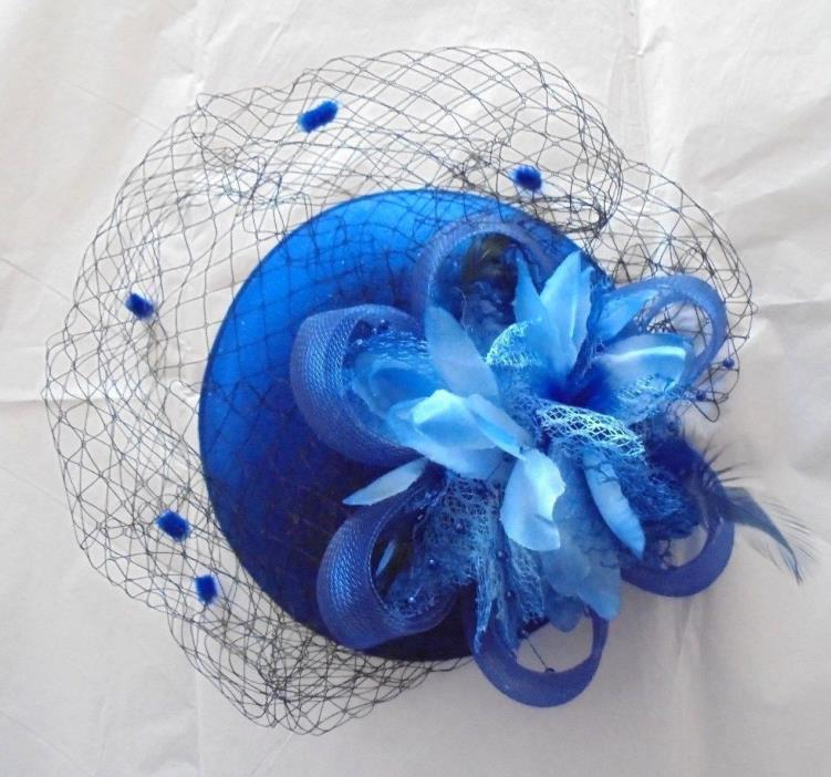 Fascinator Ladies Feather Blue Hat w/Feathers, Easter, Wedding Ladies OS