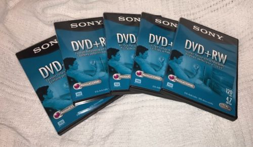 Sony Dvd + RW Discs, Lot Of 5, 120 Min/4GB Each