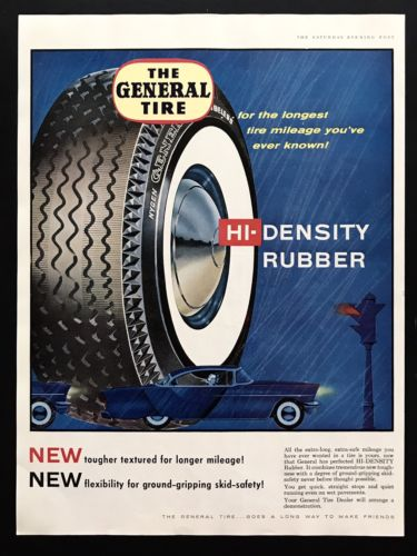 1956 Vintage Print Ad 50's GENERAL TIRE Blue Car Illustration 50's Style Art