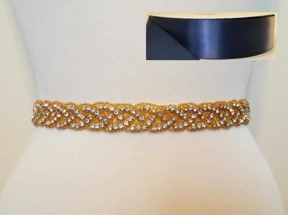 Wedding Bridal Sash Belt, GOLD CLEAR RHINESTONE Sash Belt = NAVY SATIN SASH