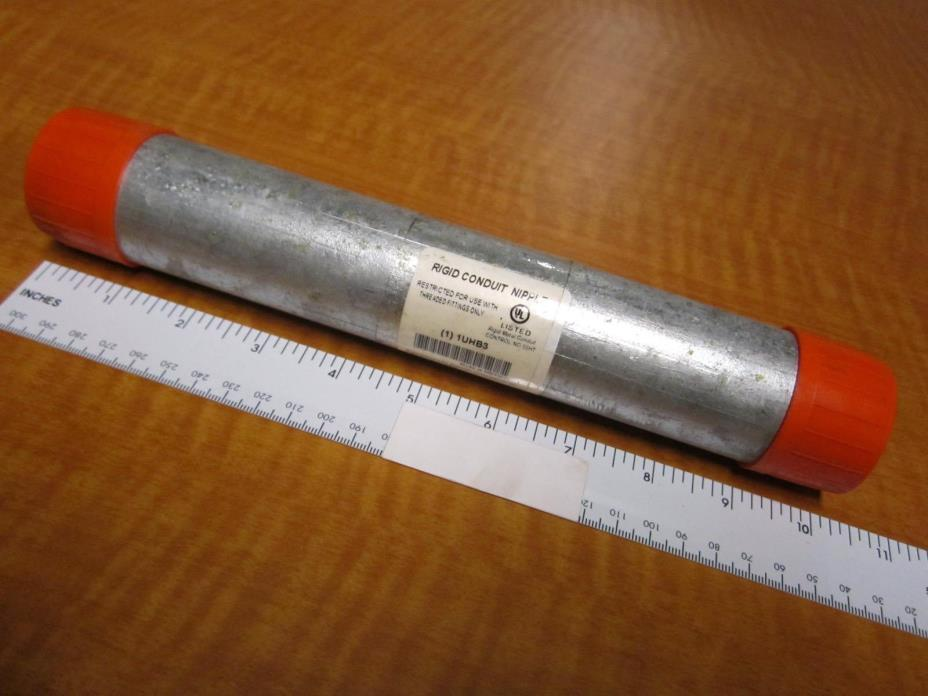 Rigid Conduit Nipple, Galvanized Steel, Conduit Size 1-1/4In Width, 10In Length