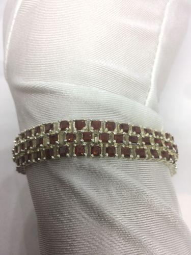 Deco Antique Vintage 925 Sterling Silver Genuine Red Garnet Bracelet