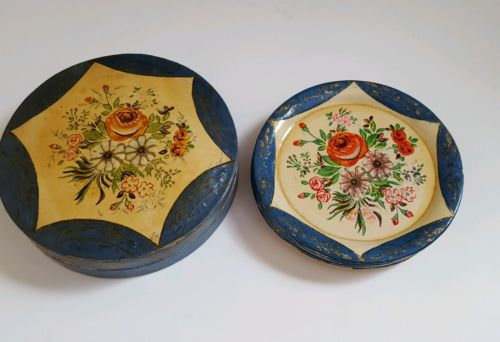 Vintage Early Paper Mache Coaster Flowers, Japan with Original Holder Box