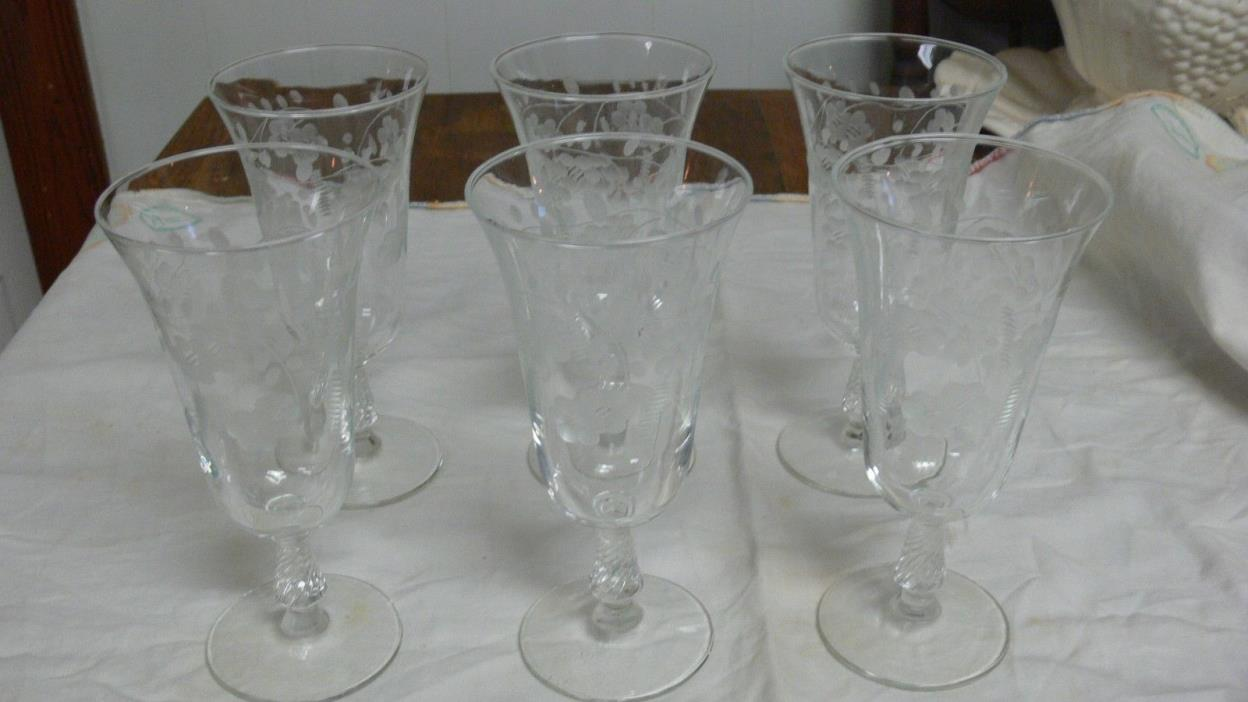 Libbey Rock Sharpe Wheat Berry Vintage Etched Wine Stem Glasses