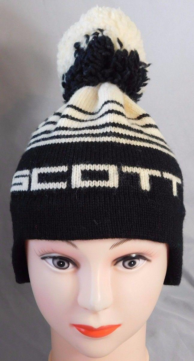 Vtg 1970'S Scott Snowboarding SKI Black Cream Toboggan Beanie Hat Cap