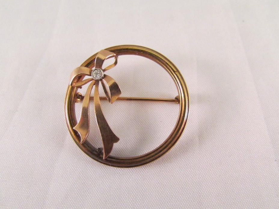 Antique Vintage 14 K Yellow & Rose Gold Circle Bow Ribbon Brooch Pin Diamond
