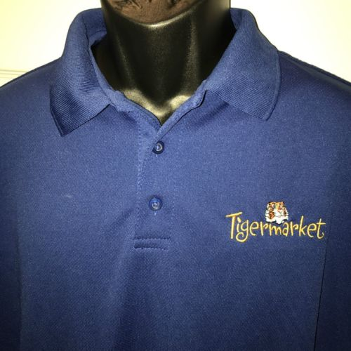 Tigermarket Gas Station Uniform Polo Shirt Size Large Blue Pointe Polyester