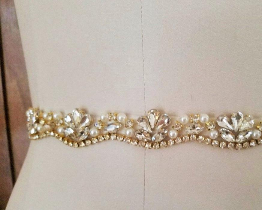 Wedding Bridal Sash Belt, LIGHT GOLD Crystal Pearl Wedding Dress Sash Belt