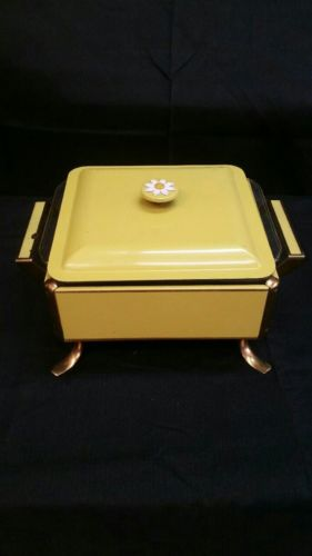 Vintage Square Fire King glass baking pan with yellow metal holder and lid