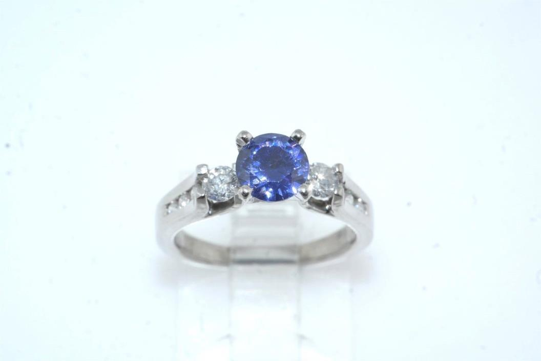 Platinum Diamond & Tanzanite Three Stone Ring