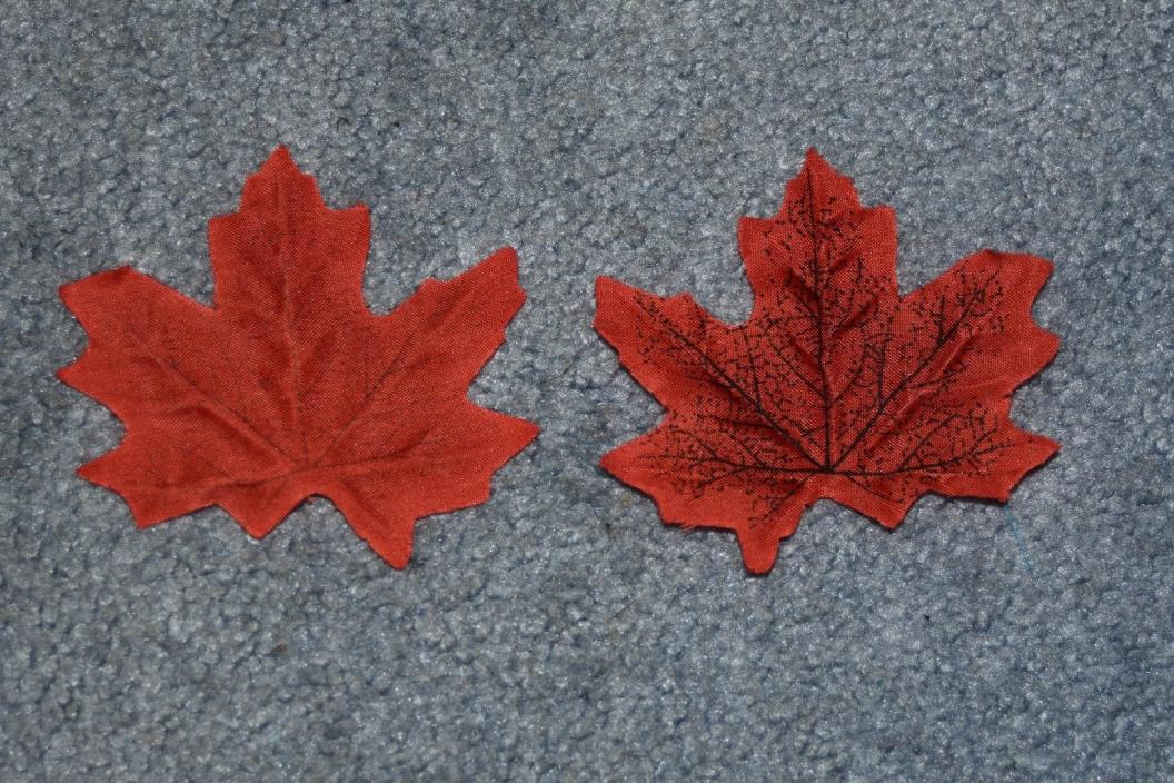 Polyester Artificial Fall Maple Leaves for Fall Weddings & Autumn Décor Red 75+
