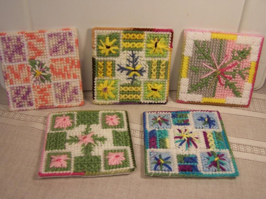Five NEW Handmade Needlepoint Trivets with Floral Patterns 4-1/4