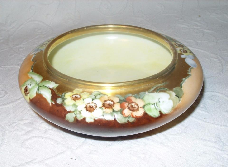 Antique Hand Painted Japanese Shallow Floral Design Gilded Planter Bowl EUC