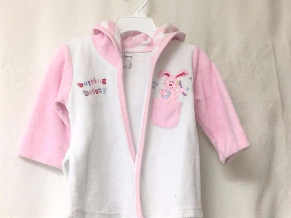 Luvable Friends Pink and White Wrap Around Cotton  Robe _ Size SM 0 - 6 mos