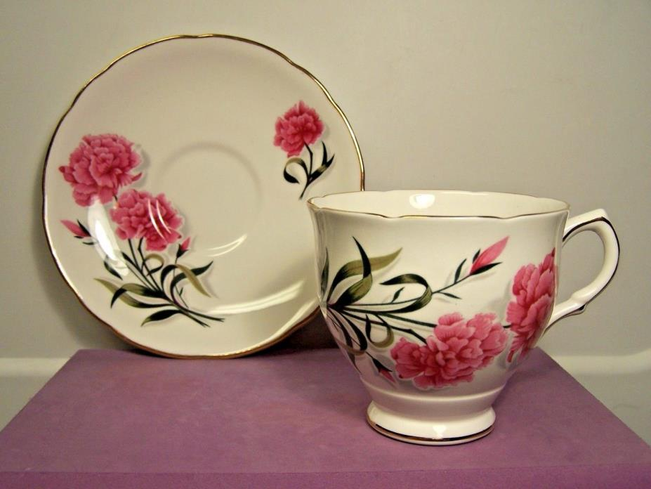 Royal Stafford Pink Peony Scalloped Tea Cup and Saucer Fine Bone China England