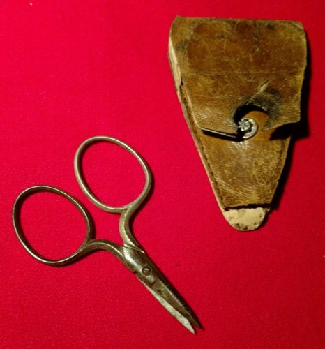 MINI EMBROIDERY SCISSORS W/CASE - PREMCUT - GERMANY - MEASURES 2 5/8 INCHES LONG