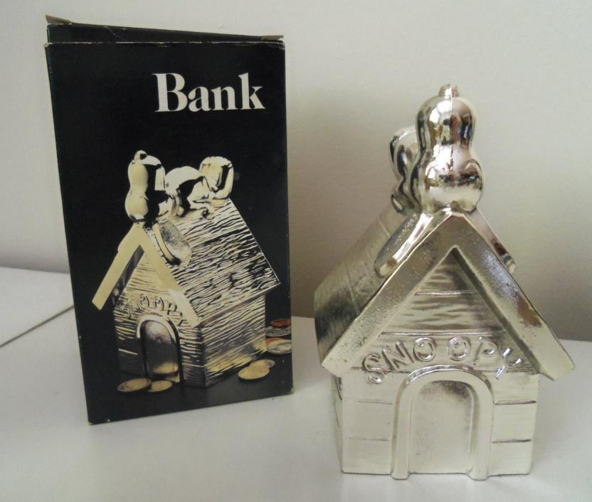 HEAVY CAST METAL SILVERPLATE SNOOPY DOG HOUSE BANK.  COPY. 1958.
