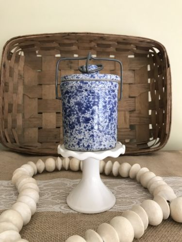 Vintage Blue & White Speckled  Cheese/Butter Crock With Bail Clap