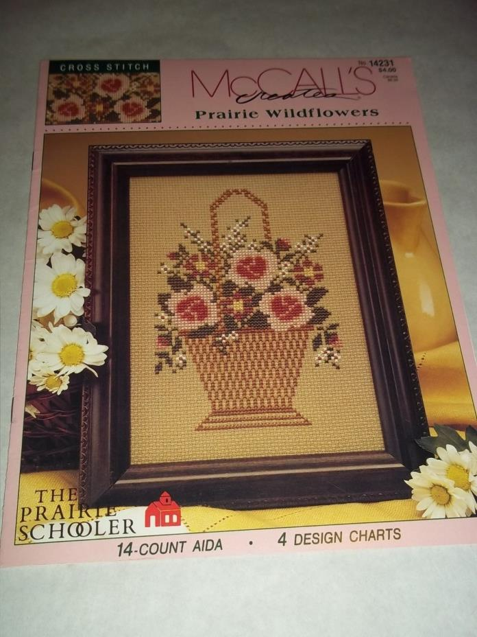 Vtg. Cross Stitch Embroidery Leaflet - Prairie Wildflowers, McCall's Creates