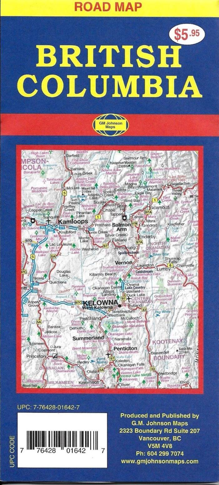 Road Map of British Columbia, Canada, by GMJ Maps
